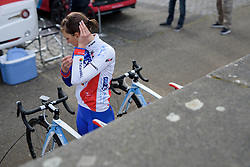 Gréta Richioud (FDJ) prepares for the Amstel Gold Race Ladies Edition - a 121.6 km road race between Maastricht and Valkenburg on April 16 2017 in Limburg, Netherlands.