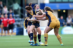 Stacey Hiscox of Worcester Valkyries is tackled - Mandatory by-line: Robbie Stephenson/JMP - 24/09/2016 - RUGBY - Sixways - Worcester, England - Worcester Valkyries v Bristol Ladies Rugby - RFU Women's Premiership