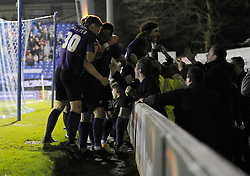 Bristol Rovers' Ollie Clarke celebrates with his team mates after scoring. - Photo mandatory by-line: Dougie Allward/JMP - Mobile: 07966 386802 01/04/2014 - SPORT - FOOTBALL - Bury - Gigg Lane - Bury v Bristol Rovers - Sky Bet League Two
