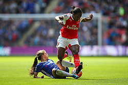 Hannah Blundell of Chelsea Ladies sliding tackle on Danielle Carter of Arsenal Ladies - Mandatory byline: Jason Brown/JMP - 14/05/2016 - FOOTBALL - Wembley Stadium - London, England - Arsenal Ladies v Chelsea Ladies - SSE Women's FA Cup
