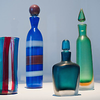 "VENICE, ITALY - DECEMBER 10: Murano glass bottles by Venini 1950 on display at the press preview of the exhibition ""The Adventure of Glass"" at  Museo Correr on December 10, 2010 in Venice, Italy. After nearly thirty years Correr Museum is hosting a prestigious exhibition in celebration of over a thousands years history of glass in Venice and the Lagoon"