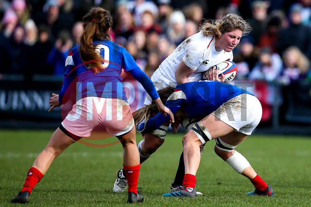 Poppy Cleall of England Women is tackled - Mandatory by-line: Robbie Stephenson/JMP - 10/02/2019 - RUGBY - Castle Park - Doncaster, England - England Women v France Women - Women's Six Nations