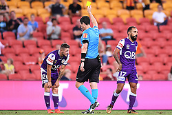 January 18, 2018 - Brisbane, QUEENSLAND, AUSTRALIA - Jake Brimmer of the Glory (#20, left) is given a yellow card by referee Kris Griffith-Jones during the round seventeen Hyundai A-League match between the Brisbane Roar and the Perth Glory at Suncorp Stadium on January 18, 2018 in Brisbane, Australia. (Credit Image: © Albert Perez via ZUMA Wire)