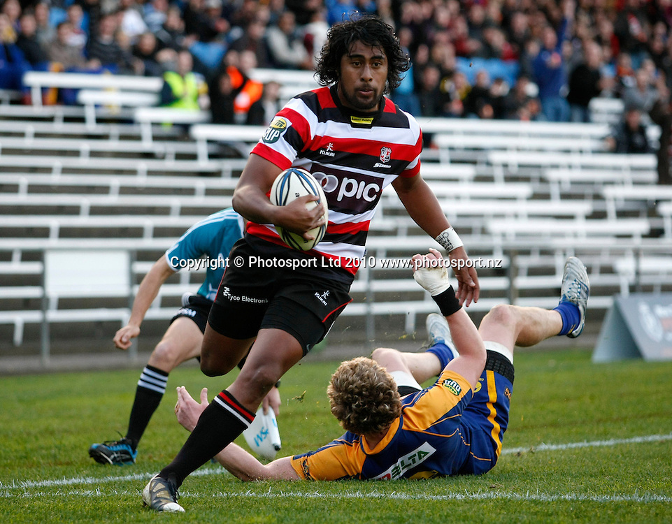 Counties winger Ahsee Tuala scores a try. ITM Cup Rugby, Counties Manukau v Otago, Bayer Growers Stadium, Pukekohe. Saturday 31st July 2010. Photo: Simon Watts/PHOTOSPORT