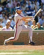 CHICAGO - 1986: Gary Carter of the New York Mets bats during an MLB game versus the Chicago Cubs at Wrigley Field in Chicago, Illinois during the 1986 season. (Photo by Ron Vesely).  Subject:   Gary Carter