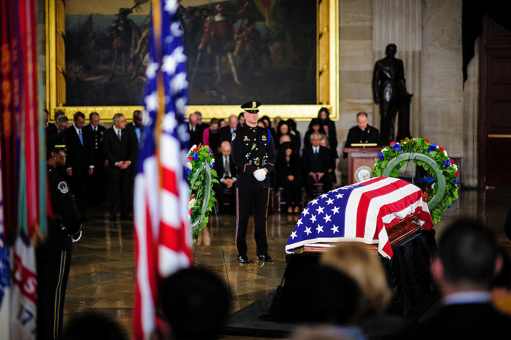 Senator Inouye Lies In State At U.S. Capitol during a service and public viewing on Thursday. Inouye, who passed away at the age of 88 on December 18 at the Walter Reed National Military Medical Center in Bethesda, Md. Inouye, 88, a decorated World War II veteran and the second-longest serving senator in history will lie in state until Friday when a memorial service will be held at the National Cathedral.