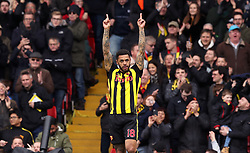Watford's Andre Gray celebrates scoring his side's second goal of the game during the FA Cup quarter final match at Vicarage Road, Watford.