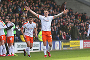 Luton Town forward James Collins (19) scores a goal and celebrates 1-0 during the EFL Sky Bet League 1 match between Burton Albion and Luton Town at the Pirelli Stadium, Burton upon Trent, England on 27 April 2019.