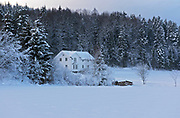 House in the frozen forest.  Sande, Vestfold, Norway.