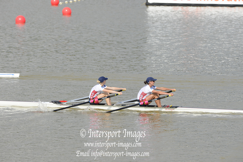 Chungju, South Korea.Women's Lightweight Double Sculls final. Silver medalist USA LW2X. Bow. Kristin HEDSTROM  and Kathleen BERTKO . Bronze Medalist. GERLW2X. bow Lena MUELLER and Anja NOSKE.  Rowing Championships, Tangeum Lake, International Regatta Course.  Saturday  31/08/2013 [Mandatory Credit. Peter Spurrier/Intersport Images]