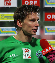 26.11.2011, Pappelstadion, Mattersburg, AUT, 1. FBL, SV Mattersburg vs SK Rapid, im Bild Iinterview mit Kapitaen Michael Moerz, (SV Mattersburg, #5) during the Austrian Bundesliga Match, SV Mattersburg against SK Rapid, Stadium, Pappelstadion Mattersburg, Austria on 2011-11-26, EXPA Pictures © 2011, PhotoCredit: EXPA/ S. Woldron