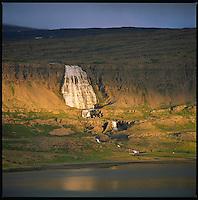 Fjallfoss waterfall in river Dynjandi in Arnarfjörður, Western fiords of Iceland. Fjallfoss í ánni Dynjandi í Arnarfirði. Vestfirðir.<br />