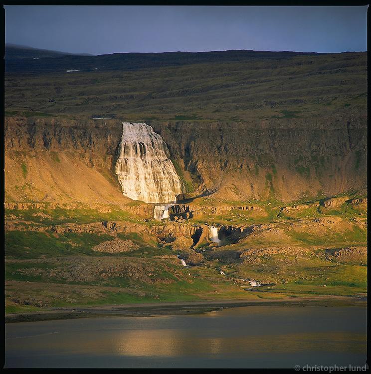 Fjallfoss waterfall in river Dynjandi in Arnarfj&ouml;r&eth;ur, Western fiords of Iceland. Fjallfoss &iacute; &aacute;nni Dynjandi &iacute; Arnarfir&eth;i. Vestfir&eth;ir.<br />