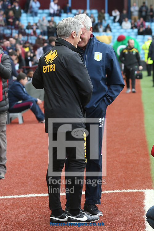 Aston Villa Manager Steve Bruce and Norwich Caretaker Manager Alan Irvine before the Sky Bet Championship match at Villa Park, Birmingham<br /> Picture by Paul Chesterton/Focus Images Ltd +44 7904 640267<br /> 01/04/2017