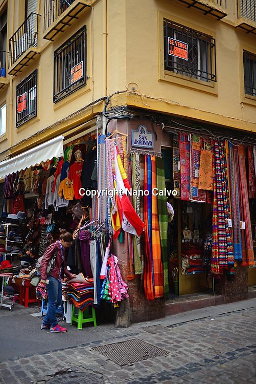 Commercial street in Granada, Spain