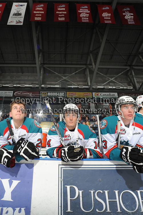 KELOWNA, CANADA, FEBRUARY 17: Tyson Baillie #24, Cody Chikie #14 and Tanner Moar #23 of the Kelowna Rockets stand on the bench opposite the Calgary Hitmen at the Kelowna Rockets on February 17, 2012 at Prospera Place in Kelowna, British Columbia, Canada (Photo by Marissa Baecker/Shoot the Breeze) *** Local Caption ***