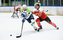 Rok Ticar of Slovenia vs Sagert Kalvin of Hungary during friendly Ice Hockey match between National Teams of Slovenia and Hungary, on April 11, 2017 in Celje, Slovenia. Photo by Vid Ponikvar / Sportida