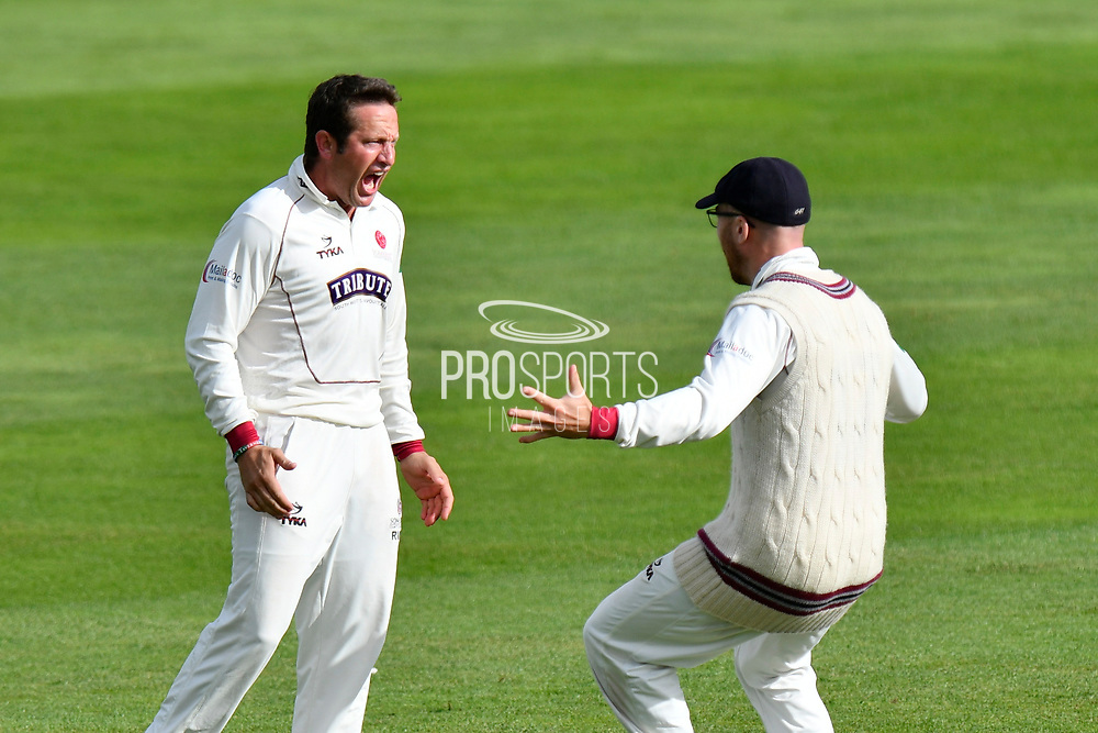 Wicket - Roelof van der Merwe of Somerset celebrates taking the wicket of Stevie Eskinazi of Middlesex during the Specsavers County Champ Div 1 match between Somerset County Cricket Club and Middlesex County Cricket Club at the Cooper Associates County Ground, Taunton, United Kingdom on 28 September 2017. Photo by Graham Hunt.