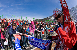 Einar Bjoern Romoeren of Norway with fans during Flying Hill Individual Qualifications at 1st day of FIS Ski Flying World Championsghips Planica 2010, on March 18, 2010, Planica, Slovenia.  (Photo by Vid Ponikvar / Sportida)