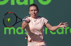 March 22, 2018 - Miami, Florida, United States - Simona Halep, from Romania, in action at the Miami Open's Center Court during her match against Ocean Dodin, from France in their second round match during the Miami Open Presented by Itau at Crandon Park Tennis Center on March 22, 2018 in Key Biscayne, Florida. Halep defeated Dodin 3-6, 6-3, 7-5 (Credit Image: © Manuel Mazzanti/NurPhoto via ZUMA Press)