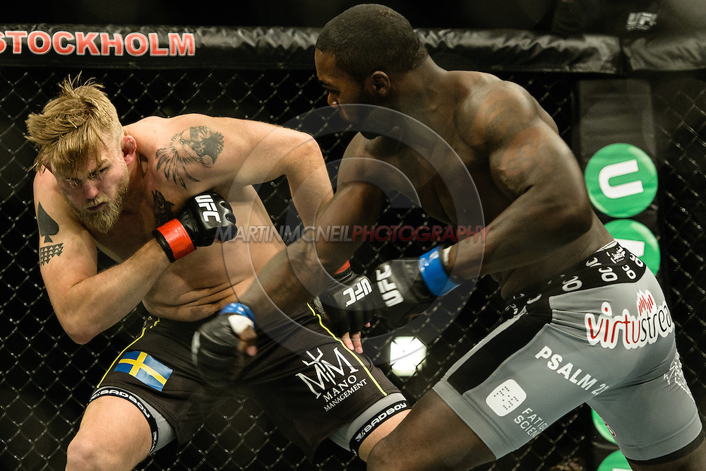 """STOCKHOLM, SWEDEN, JANUARY 24, 2015: Anthony Johnson and Alexander Gustafsson during """"UFC on Fox 14: Gustafsson vs. Johnson"""" inside Tele2 Arena in Stockholm, Sweden"""