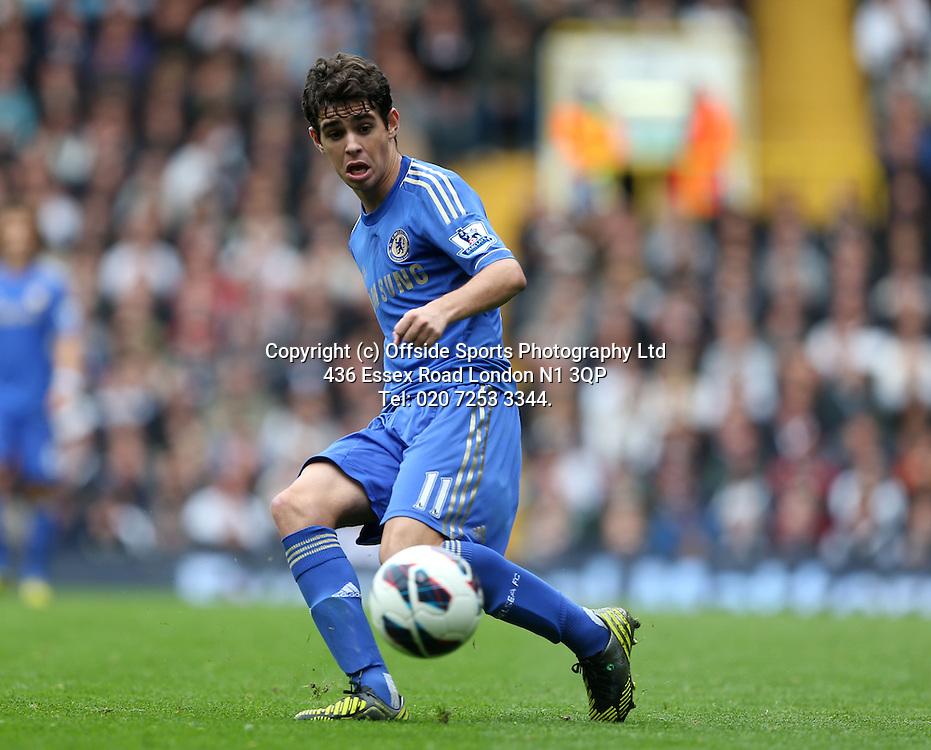 20 October 2012  Premier League football - Tottenham Hotspur v Chelsea<br /> Oscar passes the ball.<br /> Photo: Mark Leech.