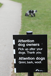 Humorous sign asking owners to pick up after their dogs