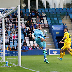 TELFORD COPYRIGHT MIKE SHERIDAN 25/8/2018 - CHANCE. Grant Shenton of Chester flips the ball over the bar during the Vanarama Conference North fixture between AFC Telford United and Chester City.