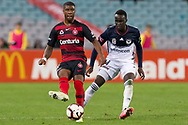 SYDNEY, AUSTRALIA - APRIL 27: Western Sydney Wanderers midfielder Roly Bonevacia (28) passes the ball in front of Melbourne Victory defender Thomas Deng (14) at round 27 of the Hyundai A-League Soccer between Western Sydney Wanderers FC and Melbourne Victory on April 27, 2019 at ANZ Stadium in Sydney, Australia. (Photo by Speed Media/Icon Sportswire)