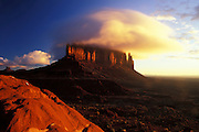 Sunrise, Sentinel Mesa & cloud, Navajo Tribal Park, AZ