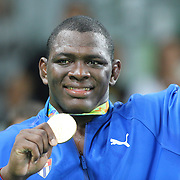 Wrestling - Olympics: Day 10   Mijain Lopez Nunez of Cuba with his gold medal after winning his third straight Olympic Gold Medal winning the Men's Greco-Roman 130 kg at the Carioca Arena 2 on August 15, 2016 in Rio de Janeiro, Brazil. (Photo by Tim Clayton/Corbis via Getty Images)