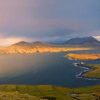 Rainbow - View from Geokaun Mountain with Valentia Island lighthouse / vl1334_2