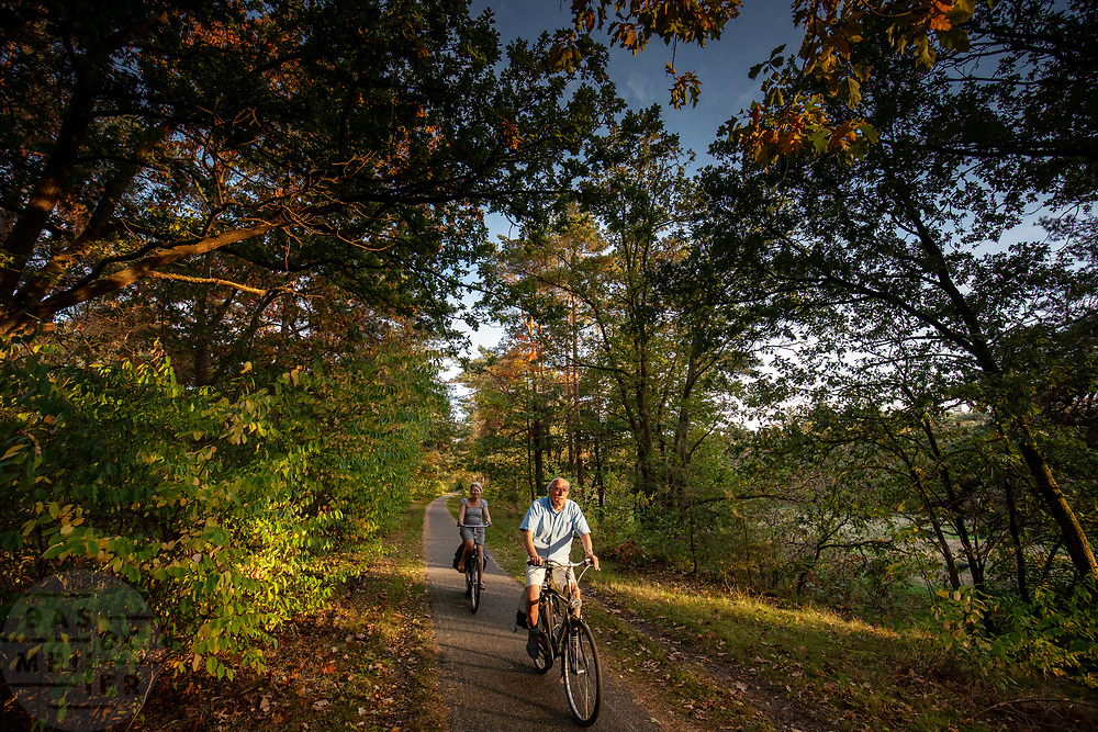 Fietsers in de bossen bij Zeist.<br /> <br /> Cyclists in the woods near Zeist.