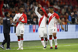 (L-R) Nilson Loyola of Peru, Pedro Aquino of Peru, Anderson Santamaria of Peru during the International friendly match match between The Netherlands and Peru at the Johan Cruijff Arena on September 06, 2018 in Amsterdam, The Netherlands