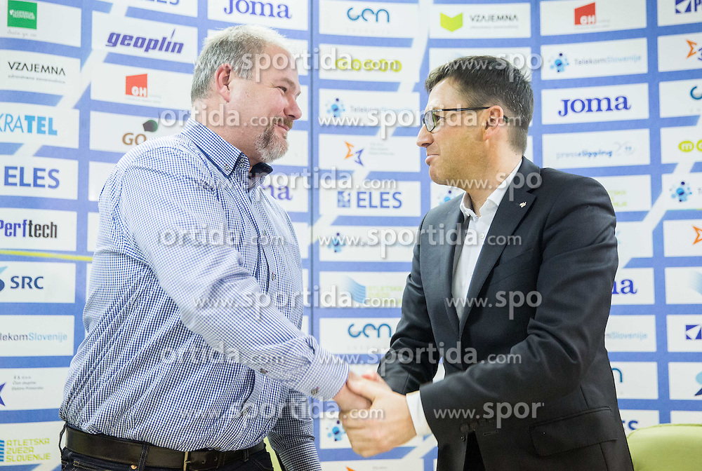 Miha Tomc ? and Roman Dobnikar during press conference when Slovenian athletes and their coaches sign contracts with Athletic federation of Slovenia for year 2016, on February 25, 2016 in AZS, Ljubljana, Slovenia. Photo by Vid Ponikvar / Sportida