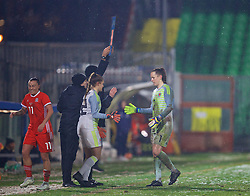 CESENA, ITALY - Tuesday, January 22, 2019: Wales' goalkeeper Laura O'Sullivan is replaced by substitute goalkeeper Claire Skinner during the International Friendly between Italy and Wales at the Stadio Dino Manuzzi. (Pic by David Rawcliffe/Propaganda)