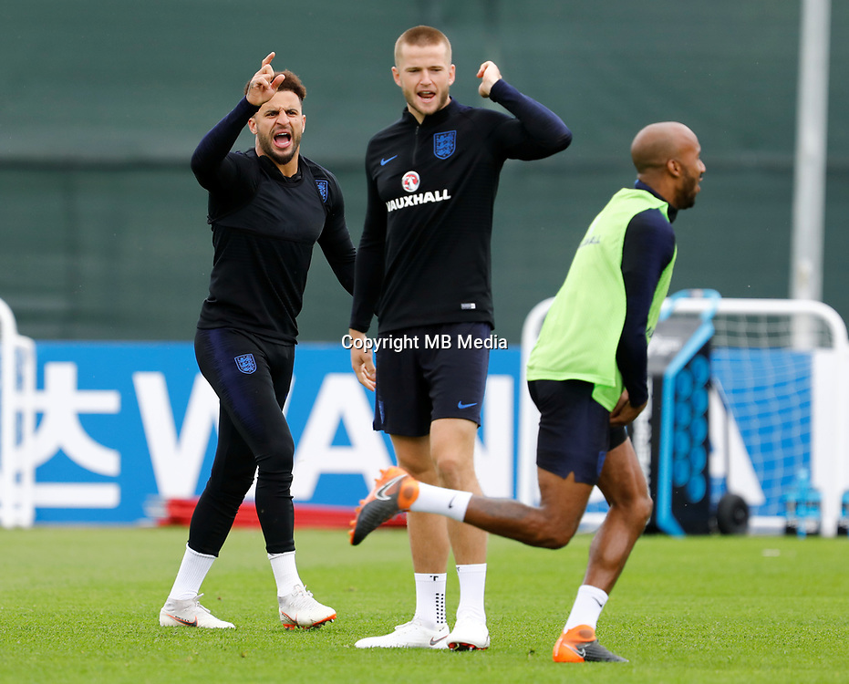 SAINT PETERSBURG, RUSSIA - JULY 10: Kyle Walker (L) and Eric Dier (C) during an Englang national team training session ahead of the 2018 FIFA World Cup Russia Semi Final match against Croatia at Stadium Spartak Zelenogorsk on July 10, 2018 in Saint Petersburg, Russia. (MB Media)