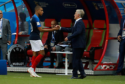 France's Kylian Mbappe with Didier Deschamps after his replacement during the 2018 FIFA World Cup Russia game 1/8 final game, France vs Argentina in Arena Stadium, Kazan, Russia on June 30, 2018. France won 4-3. Photo by Henri Szwarc/ABACAPRESS.COM