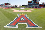ANAHEIM, CA - JULY 10:  The logo of the Los Angeles Angels of Anaheim is painted on the grass in this general view of the stadium during the game against the Seattle Mariners on July 10, 2011 at Angel Stadium in Anaheim, California. (Photo by Paul Spinelli/MLB Photos via Getty Images)
