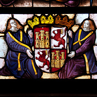 Example of the stained glass contained in the Alcazar if Segovia, Spain.