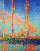 Claude Monet Poplars (Autumn), 1891. The Poplar Series paintings were made by Claude Monet in the summer and fall of 1891. The magnificent trees were in a marsh along the banks of the Epte River a few kilometers upstream from Monet's home and studio. Claude Monet (14 November 1840 – 5 December 1926), a founder of French impressionist painting.