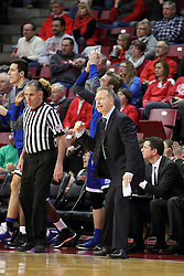 26 January 2016: Kelly Self stands near Ray Giacoletti during the Illinois State Redbirds v Drake Bulldogs at Redbird Arena in Normal Illinois (Photo by Alan Look)