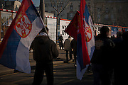 Tomislav Nikolic and the Serbian Progressive Party (SNS) stage an opposition rally in Belgrade on February 5, 2011. Pionirski Park in front of Parliament and the streets of central Belgrade.