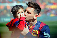 Leo Messi of Barcelona and his son during the Spanish championship Liga football match between FC Barcelona and Rayo Vallecano on March 8, 2015 at Camp Nou stadium in Barcelona, Spain. Photo Bagu Blanco / DPPI