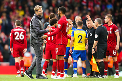 Liverpool manager Jurgen Klopp celebrates victory over Southampton with Joe Gomez of Liverpool - Mandatory by-line: Robbie Stephenson/JMP - 22/09/2018 - FOOTBALL - Anfield - Liverpool, England - Liverpool v Southampton - Premier League