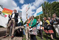 © Licensed to London News Pictures.  27/05/2017; Bristol, UK. General Election 2017; KEN LOACH speaks at the end of an NHS protest march against cuts to health funding, from Horfield Common to St Andrews Park in the Bristol West constituency. Picture credit : Simon Chapman/LNP