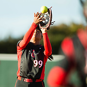 02 March 2018: San Diego State softball hosts Minnesota on day two of the San Diego Classic I at Aztec Softball Stadium. San Diego State first baseman Taylor Adams (99) catches an infield pop fly in the top of the second. The Aztecs beat the #21/20 Gophers 6-2.<br /> More game action at sdsuaztecphotos.com