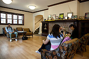 Zeyingsang Yao, Zhujia Wang, and Songqi Huang wait for an advisor in the Walter International Education Center.