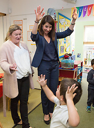 © Licensed to London News Pictures. 08/09/2015. London, UK. Labour party leadership candidate, LIZ KENDALL MP does ballet with a child during her visit to Clapham Manor Children's Centre in south west London. Photo credit : Vickie Flores/LNP