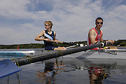 2006, National Rowing Championships, Strathclyde Park RC and castle Semple RC OJ2- gold medallist moving away from the awards dock.  Strathclyde Country Park,  Motherwell, SCOTLAND.  Sunday, 16.07.2006.  Photo  Peter Spurrier/Intersport Images email images@intersport-images.com. Finals Day.... Rowing Course, Strathclyde Country Park,  Motherwell, SCOTLAND.